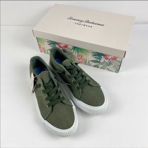 Tommy Bahama Green Canvas Slip On Sneakers